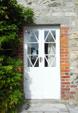 French doors painted in white satin