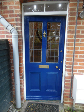 Front door in royal blue gloss